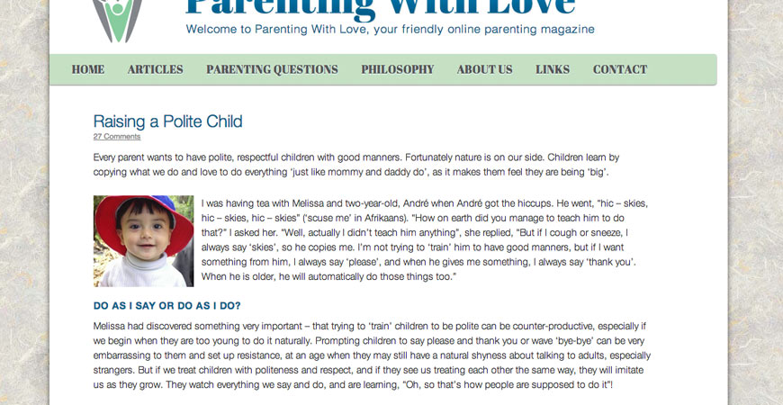 Parenting With Love Web Design 2